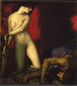 Franz von Stuck (1863 -1928) Judith et Holopherne - 1927 Huile sur bois
